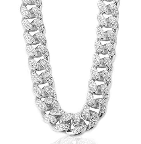 Kubanische Kette Herren Iced Out,20MM Herren Goldkette Miami Platin überzogen Weißgold Halsband Halskette 75cm,Volle Cz Diamant Schnitt Zinken-Set,Geschenk für Ihn