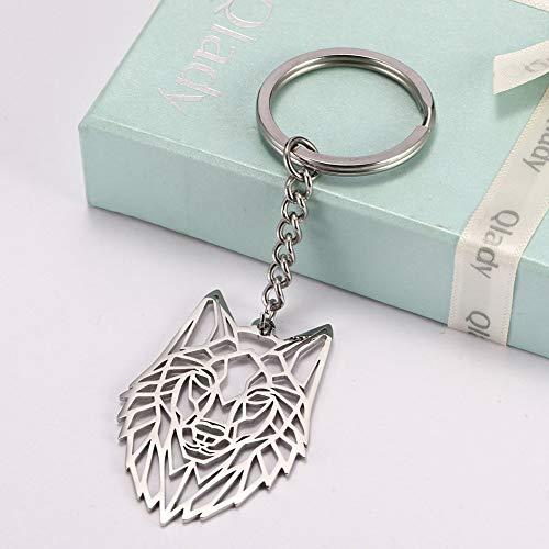 WANGWL Schlüsselring Wolf Tier Edelstahl Schmuck Schlüsselring Wald Tier Schlüsselbund Ausgeschnitten Hohl Schlüsselanhänger Anhänger Geschenk Männer