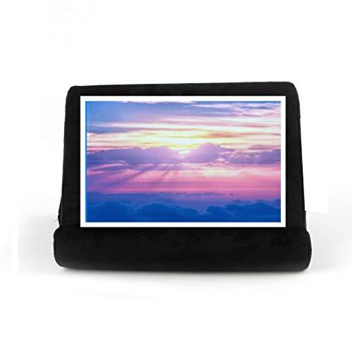 Soporte de almohada de poliéster para tableta con múltiples ángulos, soporte de almohada para teléfonos inteligentes, libros, revistas y revistas (color negro)