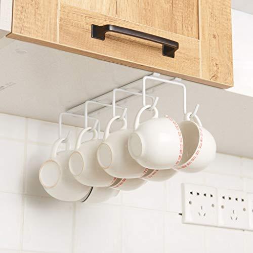 Métal 8 crochets sous l'étagère tasses tasses support de séchage de stockage de stockage de verres de vin, support accrochant d'organisateur pour des cravates et des ceintures