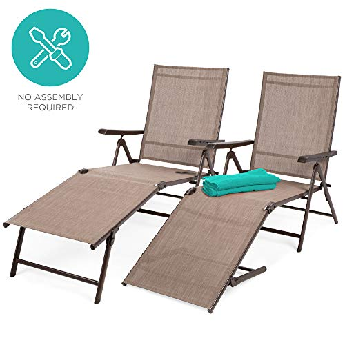 Best Choice Products Set of 2 Outdoor Adjustable Folding Chaise Lounge Recliner Chairs for Patio, Poolside, Deck - Brown