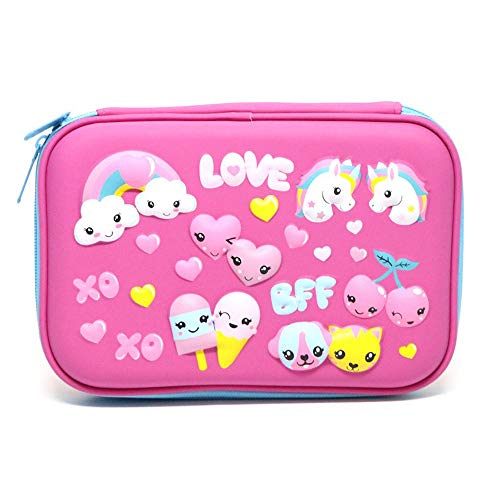 UnicornEmbossed PencilCase, SportsvoutdoorsLarge Hard Top PencilBox with Compartments, Cute Pen Holder Cosmetic Pouch Bag School Stationery Supply for Kid Children Girls Student (Unicorn Love)