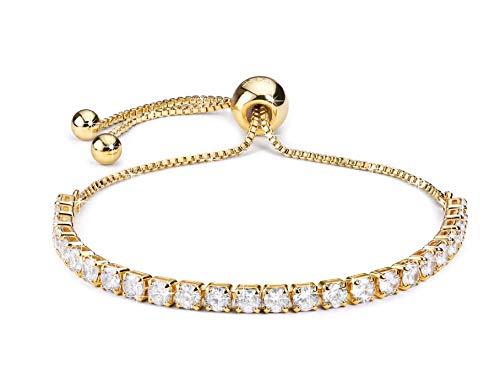 Bracciale Donna J.Fée Bracciale Oro Regolabile Bracciale Tennis Bracciale Cristallo Bianco Bracciale Diamante Bianco Squisito Zircone Cubico Regalo di Anniversario di Compleanno per la Donna Ragazza…