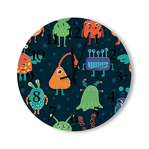 Reloj de pared de madera de 12 pulgadas, funciona con pilas, criaturas extraterrestres, reloj de pared de madera, silencioso, no hace tictac, para niños, cocina, oficina, sala de estar, decoración