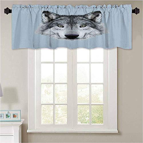 YUAZHOQI - Cenefas de ventana con diseño de lobo lobo con hermosa mirada Sublime Animal I 1 panel de 91,4 x 45,7 cm con aislamiento térmico para sala de estar