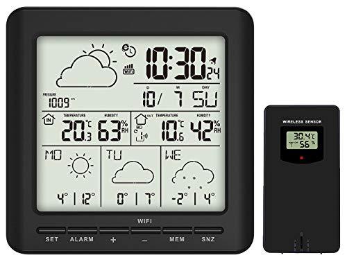 infactory Internet Wetterstation: WLAN-Funk-Wetterstation mit Außensensor, LCD-Display, Wettertrend, App (Thermometer WLAN)