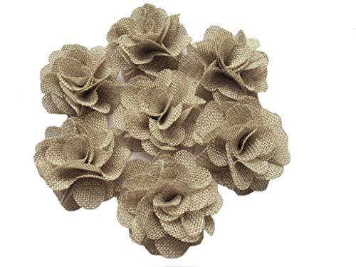 YYCRAFT 15pcs Burlap Flower Roses,3D Fabric Flowers for Headbands Hair Accessory DIY Crafts/Wedding Party Decorations/Scrapbooking Embellishments(2.25') (Lt.Tan)