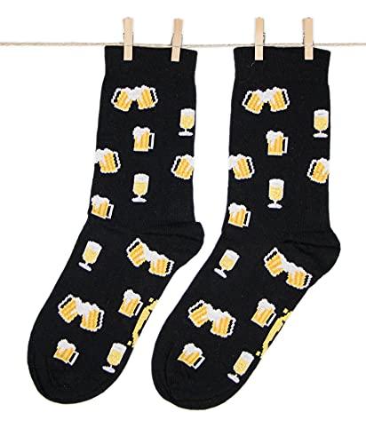 Roits Calcetines Cerveza Negros Hombre y Mujer - Calcetines de Dibujos Originales Estampados Divertidos (36-40)