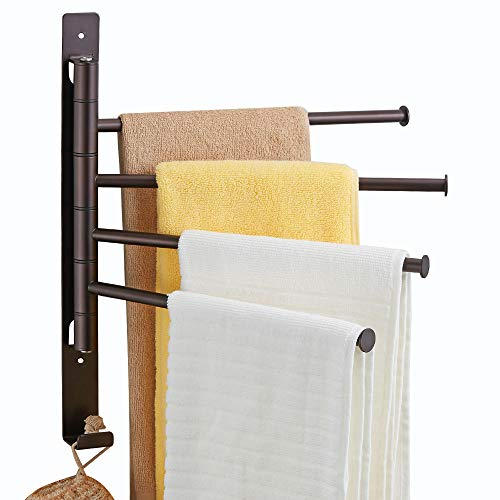 4-Arm Swivel Towel Rack, Wall Mounted Towel Bars Swing Out...