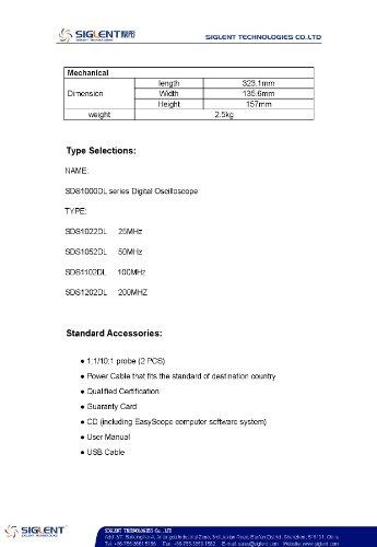 Siglent SDS1052DL–Oscilloscope numérique à 2canaux avec écran TFT LCD 7', 50MHz, 100–240V