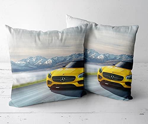 Funda de Almohada Funda Cojin Funda De Almohada Cojín CuadradoJuego de 2 piezas-18 x18-Funda de cojín, Almohada Decorativa para sofá, Coche, Cama y decoración de sillas.-Mercedes AMG GT S 24
