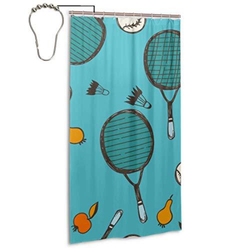 Cortina de ducha con diseño de raqueta de bádminton y raqueta de tenis con 12 ganchos Cortina para ducha de baño Cortinas de ducha impermeables lavables a máquina para baños para el hogar Spa Hotel B
