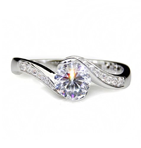 GOWE Rose Style 1CT Test Positive Moissanites Flower Halo Ring 9k White Gold Lab Grown Diamond