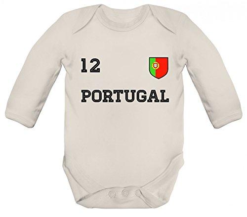 ShirtStreet Wappen Fußball WM Fanfest Gruppen Strampler Bio Baby Body Bodysuit langarm Jungen Mädchen Trikot Portugal, Größe: 3-6 Monate,Organic Natural