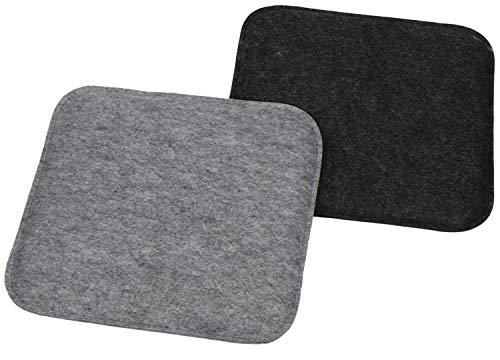 com-four 2X Juego de Cojines de Asiento tapizados, Cojines de Silla para sillas y Bancos - Cojines de Asiento Cuadrados para Comedor, jardín - 35 x 35 x 2 cm (02 Piezas - Cuadrado Antracita/Gris)
