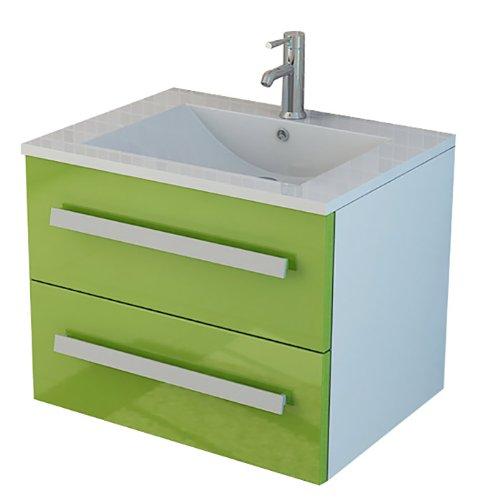 Lavabo Arosa II en vert Salle de Bain Set Toilette Wc ensemble meuble-lavabo évier vasque lave-mains armoire de salle de bain