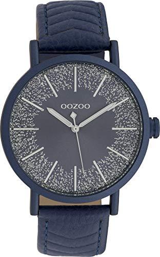 Oozoo Damenuhr mit Lederband 42 MM Dunkelblau/Dunkelblau C10147