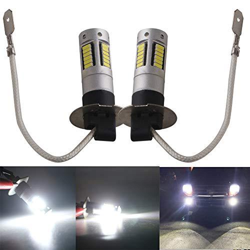 Qasim H3 6500K-8000K Blanco 30SMD 4014 Bombillas LED Corriente Constante/no polaridad para Luces antiniebla de Coche Luces de circulación Diurna Lámparas de Lente DRL 12V (Paquete de 2 Piezas)