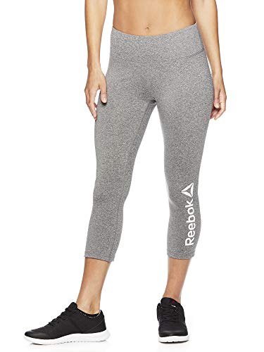 Reebok Women's Printed Capri Leggings with Mid-Rise Waist Cropped Performance Compression Tights - Quick Flint Grey Heather, Large
