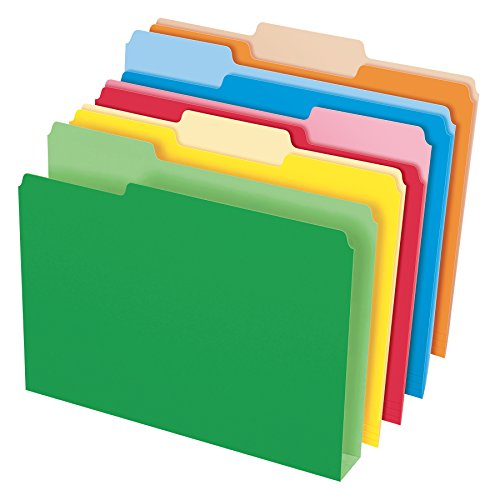 Pendaflex Double Stuff File Folders, Letter Size, Assorted Color, 1/3 Cut, 50/BX (54460)