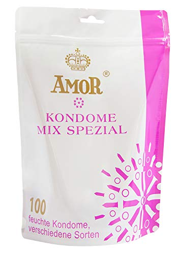 """AMOR """"Mix Spezial 53/54mm"""" 100er Pack Markenkondome im attraktiven Standbodenbeutel, für pures Gefühl, hauchzart und feucht"""