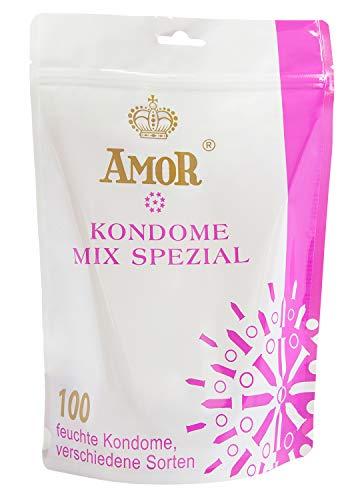 AMOR 'Mix Spezial 53/54mm' 100er Pack Markenkondome im attraktiven Standbodenbeutel, für pures Gefühl, hauchzart und feucht