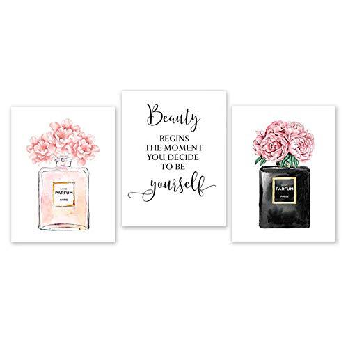 Parfümflasche Wandkunst Parfüm Poster und Drucke Schönheit beginnt Zitat Druck Aquarell Blumenbilder Schlafzimmer Dekoration / 40X60Cmx3 / Ungerahmt