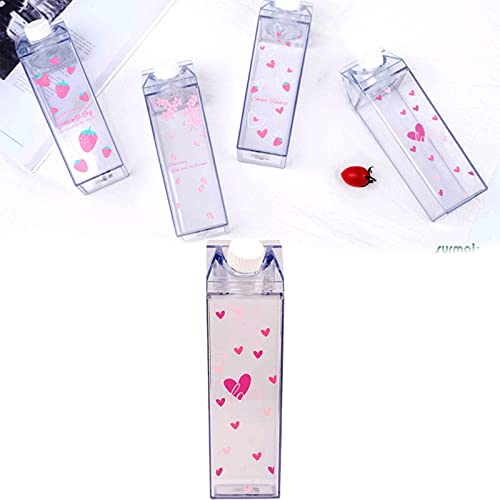 GOUDANER Clear Milk Carton Water Bottle,Botellas De Agua De Plastico Reutilizable,Botella De Zumo,Botella De Agua PortáTil,para Deportes,Viajes,Actividades De Campamento A