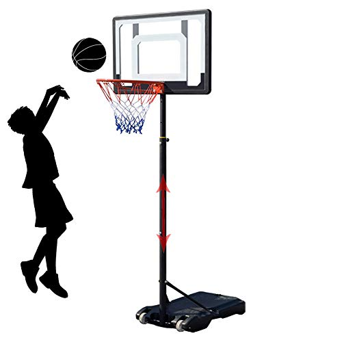 XLanY Canasta De Baloncesto Portátil con Altura Ajustable, Sistema De Tablero con Ruedas Al Aire Libre, Interior para Niños, Jóvenes, Adolescentes, Equipo De Baloncesto De Elevación Estable