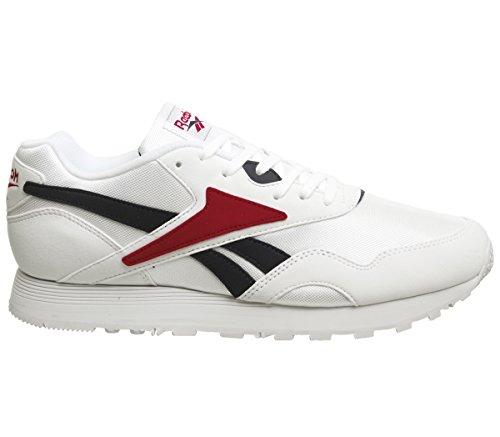 Reebok Classic Sneaker Zeitlose Damen Turn-Schuhe Rapide Freizeitschuhe Mode-Schuhe Weiß/Blau/Rot, Größe:36