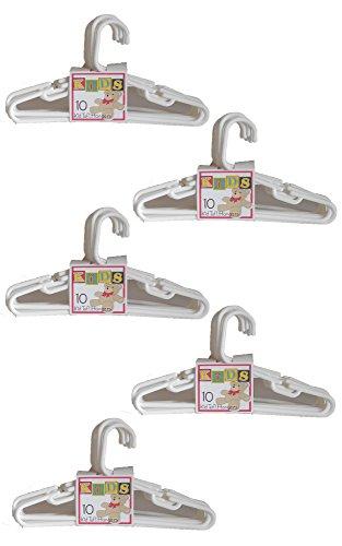 Kid Tuf! Set of 50 White Kid-Sized Clothing Hangers