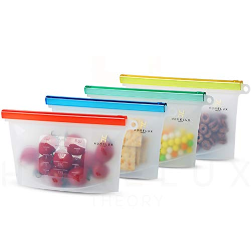 Homelux Theory Reusable Silicone Food Storage Bags Silicone Bags Reusable Bags Silicone Silicone Storage Bags Silicone Food Bags Reusable Silicone Food Bag (4 Small)