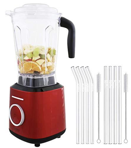 KeMar Kitchenware KSB-300R Standmixer | Hochleistungsmixer | Mixer | Touch Bedienung | 2 Liter | BPA-frei |6 Programme (Rot Metallic) SET mit 8 Glastrinkhalmen