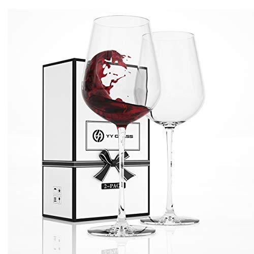 YY Juego de 2 copas de vino de 17 onzas, tamaño grande, de cristal soplado a mano, juego de copas de vino con tallo largo para vino tinto o blanco, paquete de regalo