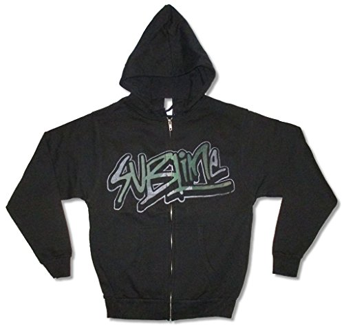 Sublime Graffiti Logo 40oz Freedom Sun Black Zip Sweatshirt Hoodie (S)