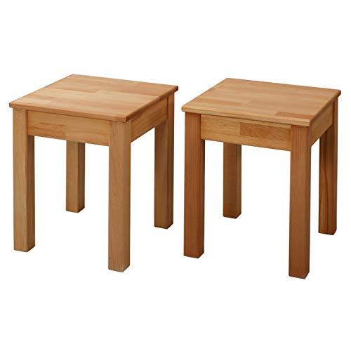 Krokwood Esszimmer Stuhl Massivholz Buche FSC 100% Tomas 35x35x45 cm Hocker (2 x Esszimmer Stuhl ohne Eingriff 35x35x45 cm)