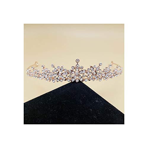 Rhinestones Crystal Wedding Tiara Headband Bridal Princess Crown Hair Accessories,Style 2 Rose Gold