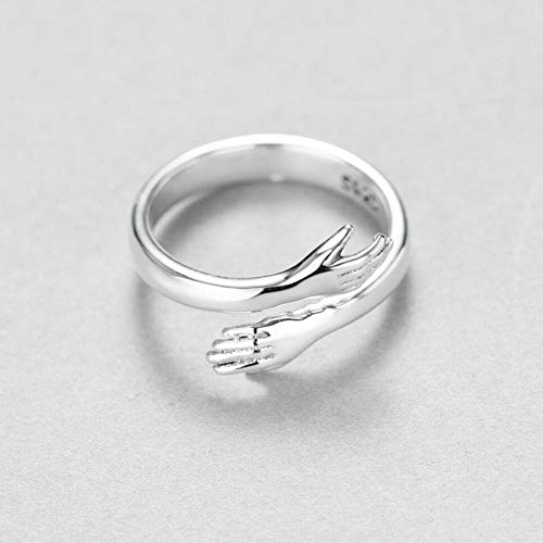 Queen's (2Pcs) 925 Sterling Silver Hug Ring, LoveHugRing Tide Flow Adjustable Open Silver Rings Jewelry