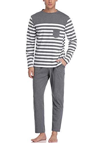 Hawiton Herren Schlafanzug Pyjama lang Zweiteiliger Gestreift Baumwolle Nachtwäsche Langarm Hausanzug Sleepwear Grau S