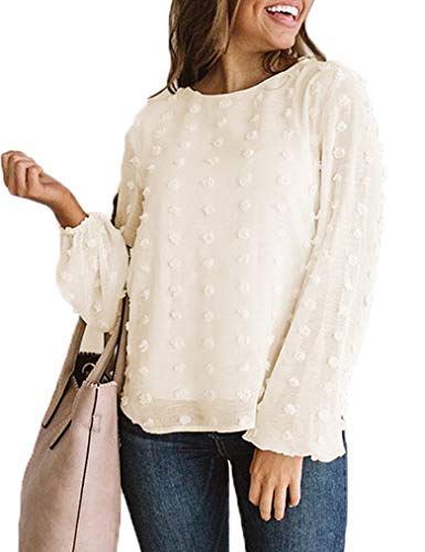 Womens Tops Chiffon Bell Sleeve Shirts Polka Dot Blouse (L, Z-Beige)