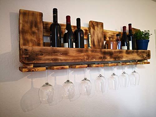 Rustikales Weinregal/Kräuterregal/Wandregal/Flaschenregal/Weinglasregal/Küchenregal inklusive Aufhängung mit Schrauben und Dübel