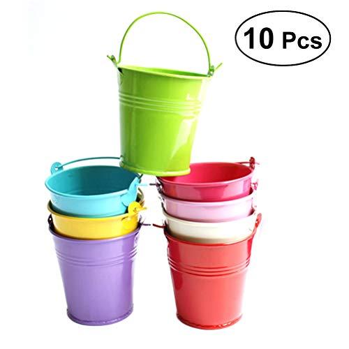 Yardwe 10 Pezzi Vaso portafiori in Metallo vasi per Piante da Esterno vasi Balcone pianta da Giardino fioriera Secchio di Metallo Recinzioni per la Decorazione Domestica,Multicolore