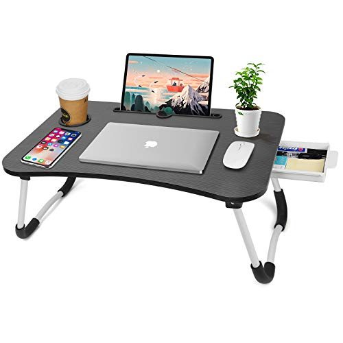 Soporte para portátil para cama, bandeja plegable para portátil con cajón de almacenamiento y ranura para tazas, mesa de regazo para comer, trabajar, leer libros en la cama/sofá/suelo (negro A)