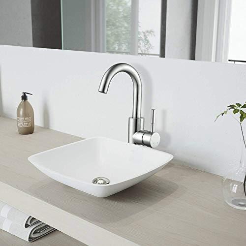 Amzdeal Waschtischarmatur 360° drehbare Waschbecken Armatur, Mischbatterie Badezimmer Wasserhahn, Waschtisch Armatur aus solide 304 Edelstahlstange / AZ002C