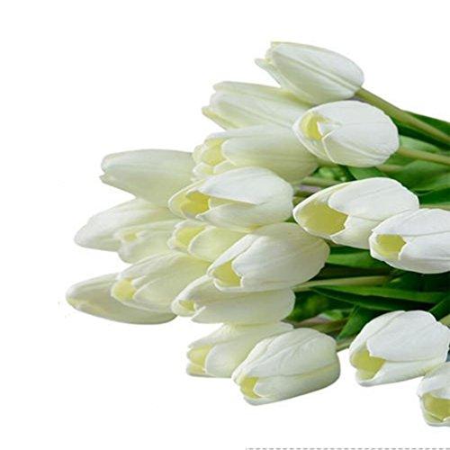 Kaymayn artificiali Tulip Flower bouquet di fiori finti tulipano vero tocco di seta, per matrimonio bouquet Decor o casa stanza o compleanno festa in giardino decorazione floreale, White, 20 Pezzi