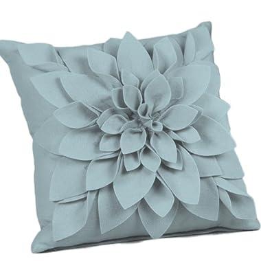 Sara's Garden Petal Decorative Throw Pillow, 17 Inch Square, Filler Included (Aqua)