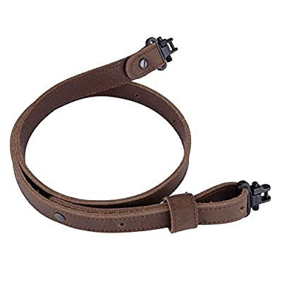 "Raiseek Buffalo Hide Leather Rifle Gun Sling with Mil-Spec Swivels, Crazy Horse Brown Stitch,Vintage Rugged Gun Strap,1"" Wide Black Screws"