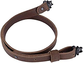 Raiseek Buffalo Hide Leather Rifle Gun Sling with Mil-Spec Swivels, Vintage Rugged Gun Strap, Crazy Horse Brown Stitch,1