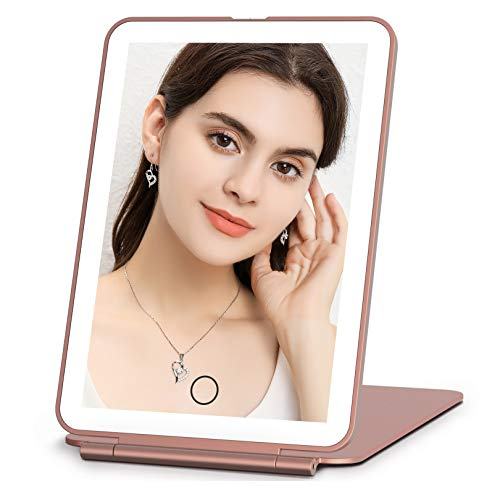 Rechargeable Makeup Vanity Mirror with 72 Led Lights, Lighted Light up Travel Beauty Mirror, 3 Color Lighting, Dimmable Touch Screen, Tabletop Cosmetic Mirror (Rose Gold)