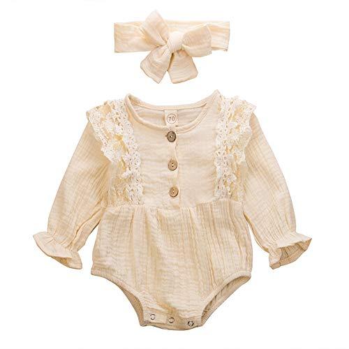 Baby Leinen Strampler Langarm Body Baumwolle Knopf T-Shirt Bluse Tops Einteiliges...